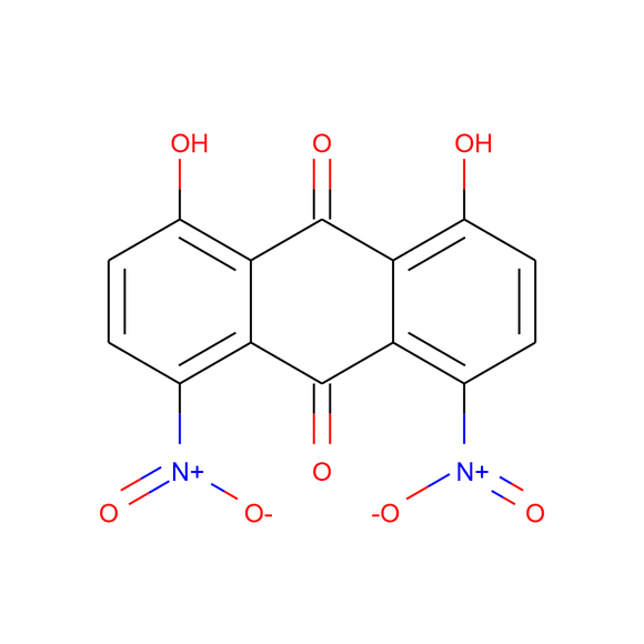 US Biological 1,8-Dihydroxy-4,5-dinitro-9,10-anthracenedione SKU: 411510 package