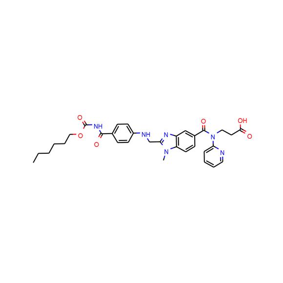 US Biological N-[[2-[[[4-[[[(Hexyloxy)carbonyl]amino]carbonyl]phenyl]amino]methyl]-1-methyl-1H-benzimidazol-5-yl]carbonyl]-N-2-pyridinyl-β-alanine SKU: 457610 package