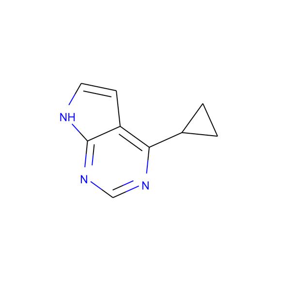 A2B Chem 4-cyclopropyl-7H-pyrrolo[2,3-d]pyrimidine SKU: AX55666 package